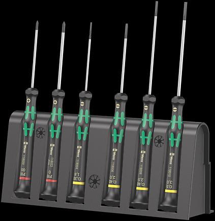 Modernistisk 2035/6 A elektronik-skruetrækkersæt + rack - Wera produktfinder RL27