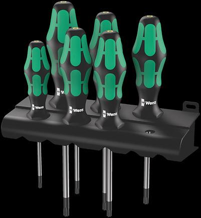 Wera 05028059001 Kraftform Plus 367//6 HF Torx Screwdriver Set and Rack Lasertip