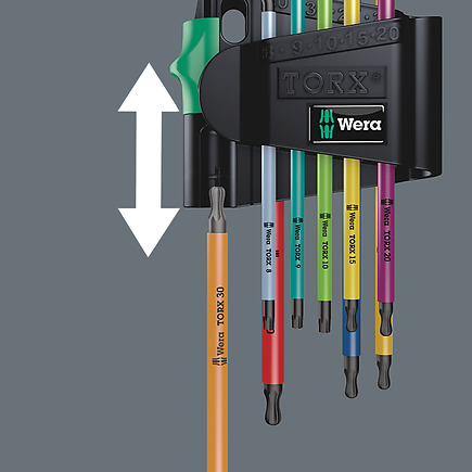9 Pieces Wera 05073599001 967 Spkl//9 Torx Bo Multicolor L-Key Set for Tamper-Proof Torx Screws Blacklaser