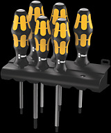 977/6 TORX® Screwdriver set Kraftform Wera: Chiseldriver and rack
